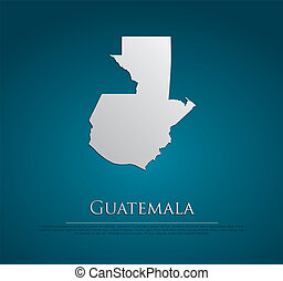 vector Guatemala Map card paper on blue background, high...