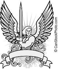 vector, guerrero, ángel, ilustración