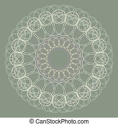 Ornamental round lace pattern background for certificate, note, ticket, reward, diploma, voucher design.