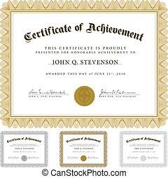 vector, guilloche, set, certificaat