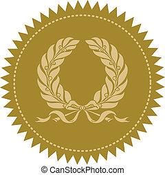 vector, guirnalda, sello oro