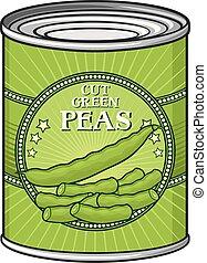vector, guisantes verdes, ilustración, lata