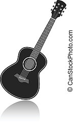vector guitar - Acoustic guitar symbol monochrome vector...