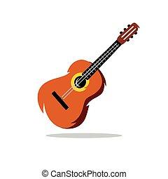 Vector Guitar Cartoon Illustration.