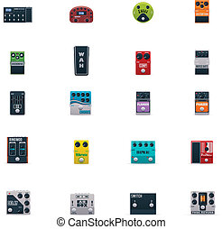 Vector guitar effects icons set - Set of the generic guitar...