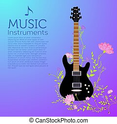 vector guitar entwined flowers. background concept design.