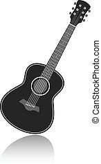 vector guitar - Acoustic guitar symbol monochrome vector...