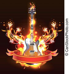 Guitar in fire flames