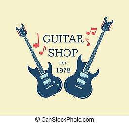 Vector guitar shop logo, emblem with musical notes