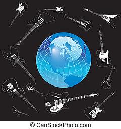 Vector guitars circle the earth