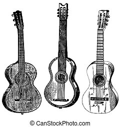 Vector Guitars - Set of vintage vector guitar illustrations