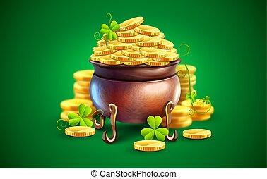 vector., guld, pot, mønter, patricks, holiday., helgen, dag