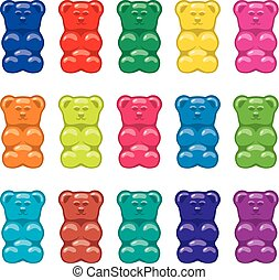 vector gummy bear candies isolated on white background
