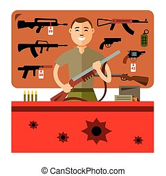 Vector Gun Shop. Flat style colorful Cartoon illustration.