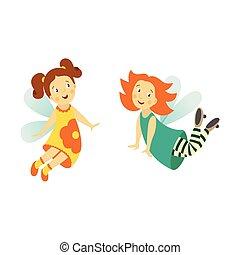 vector, hada, lindo, niña, conjunto, aislado, ilustración