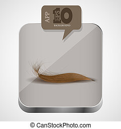 Vector hair app icon with brown bubble speech. Eps10