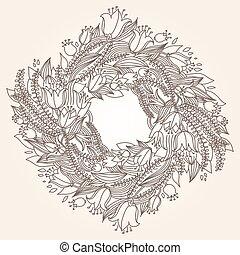 Vector hairline circular floral wreaths