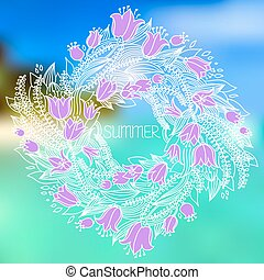 Vector hairline circular floral wreaths with summer flowers
