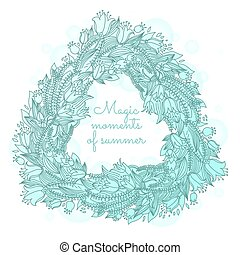 Vector hairline triangle floral wreaths with summer flowers