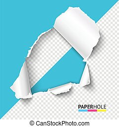 Vector Half empty hole in teared paper on half transparent background. Cardboard hole with ripped edge.