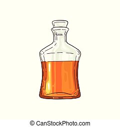 Vector half of whiskey scotch glass bottle icon