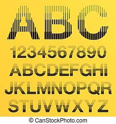 Vector Halftone Lines Alphabet