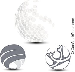Vector halftone sphere with shadow isolated on white background. Globes with dots and stripes for logo and web design.