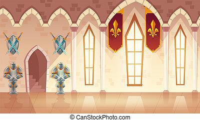 Vector hall in medieval castle, royal ballroom