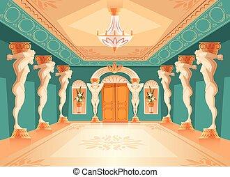 Vector hall with atlas columns, ballroom interior