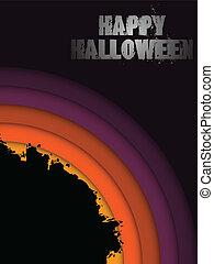 Vector - Halloween Background Circle Grunge Vector