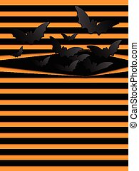Vector Halloween Background Scary Bats Orange