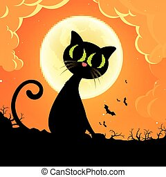 Vector Halloween Background - Vector Illustration of a Black...