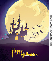 Vector Halloween Background with Castle