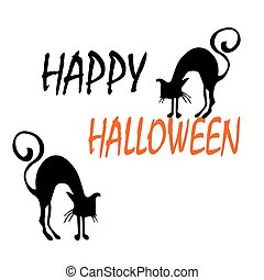 Vector Halloween background with cats