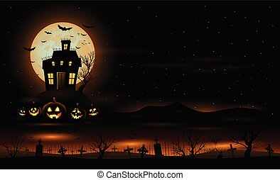 Vector Halloween background with haunted house mansion