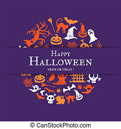Vector halloween background with place for text with cricle of creepy witches, ghosts and pumpkins