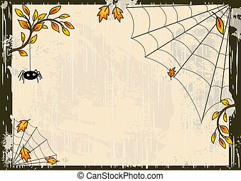 Vector Halloween background with spider and web