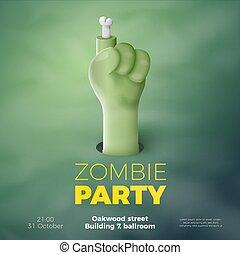 Vector Halloween banner, zombie invitation concept