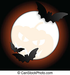 Vector - Halloween Bat Circle Frame Pumpkin Background Vector