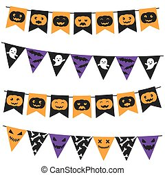 Halloween bunting pack - Vector Halloween bunting pack on...