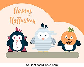 Halloween card template with stylized penguin characters. Modern flat illustration.