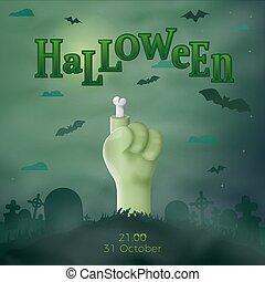 Vector Halloween Cartoon 3d realistic zombie hand