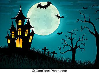 Vector halloween castle background design