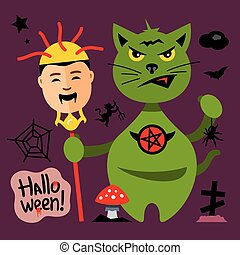 Vector Halloween Cat in Graveyard Cartoon Illustration.