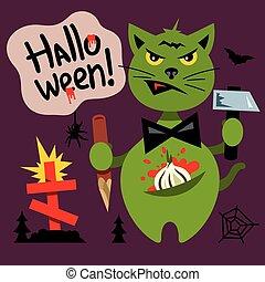 Vector Halloween Cat in the Cemetery Cartoon Illustration.