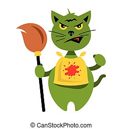 Vector Halloween Cat with Witch Broomstick Cartoon Illustration.