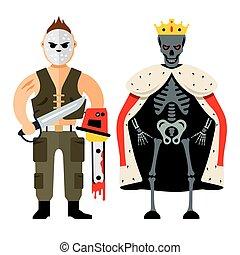 Vector Halloween characters Cartoon Illustration.
