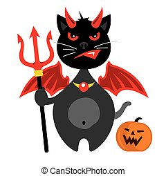 Vector Halloween Crazy Black Cat Cartoon Illustration.
