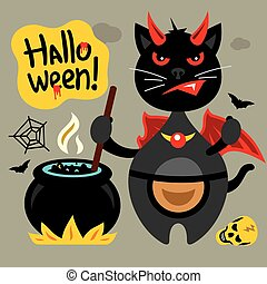 Vector Halloween Crazy Black Cat Cartoon Illustration.