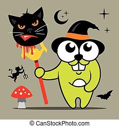 Vector Halloween Crazy Rabbit in witch hat Cartoon Illustration.